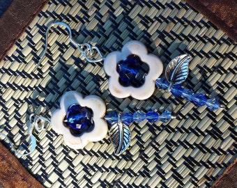 Blue, White, and Silver Flower Dangle Earrings