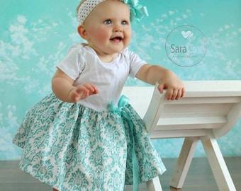 Maddie Dress Baby Photo Prop Aqua Damask
