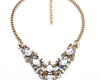 Gold Crystal Statement Necklace