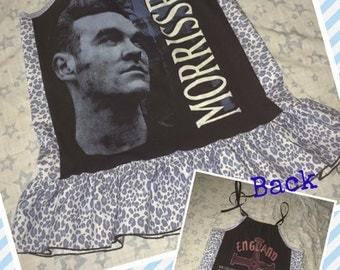 Girls size 4/5 Upcycled Pillowcase Dress - I was a Morrissey T-shirt