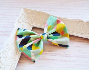 Mint Geo Fabric Hair Bows - Geometric Print Hair Bows - Ladies Girls Toddler Hair Bows - Mini Bows Everyday Bows Big Bows