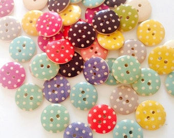CLOSING SALE 50 pcs Wooden Buttons, Mixed Pattern, Polka Dot Wood Buttons, 18 mm Buttons, 2 Holes, Bout 031