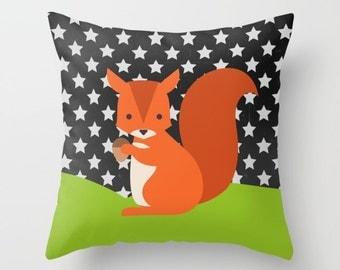 Nursery Room Decor , Nursery Pillow , Throw Pillow , squirrel and stars Pillow , Decorative children's pillow ,  kids Pillow , kids Cushion