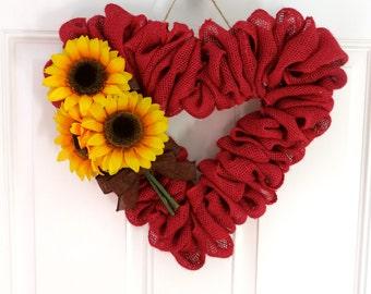Red Burlap Valentine Wreath, Burlap Wreath, Heart Wreath, Wreath for Front Door, Small Wreath, Summer Wreath, Sunflower Wreath