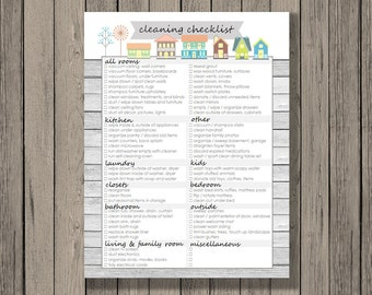 Cleaning printable, Cleaning checklist printable, Spring cleaning checklist, home sweet home, categorized by room, instant download.