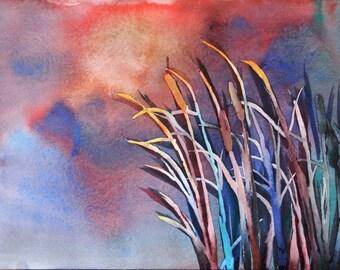 "Original Watercolor ""Cattails in Sunset"" 10"" x 14"""