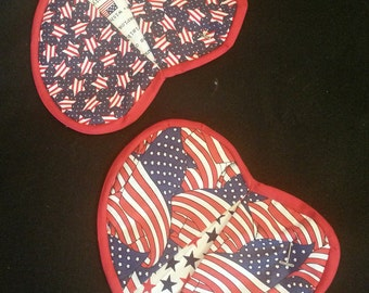 Heart shaped potholders in American flag motif