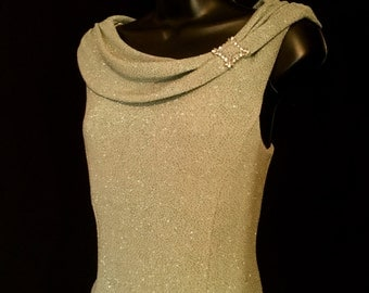 Vintage Moss Green Knit and Satin Formal Gown    VG 170