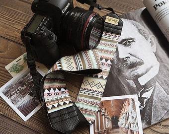 Hand-made camera strap Aztec