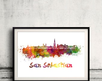 San Sebastian skyline in watercolor over white background with name of city - Poster Wall art Illustration Print - SKU 1520