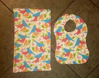 Little Sparrows/Birds -- Adjustable Snap Bib and Burp Cloth Combo -- Baby Shower Girl