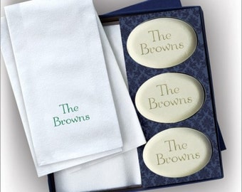Personalized Engraved Soap and Personalized Guest Towel Set - 2860_O_N