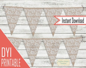 Lace Flag Banner garland, PRINTABLE Bunting Banner Clipart, Triangle Banner, INSTANT DOWNLOAD