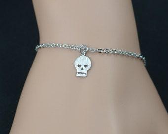 tiny skull bracelet, bridesmaids gifts, rhodium plated skull on silver plated chain, sugar skull charm bracelet, dainty everyday, adjustable