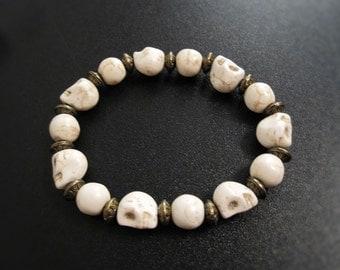 White skull elastic bracelet