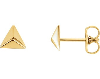 14K Gold Pyramid Fashion Stud Earrings