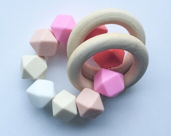 Wooden Toy Pink teether Organic Teether Wooden Teether Ombré Silicone bead Teether Teething Toys Montessori Toy Sensory Toys Baby Toys Sili