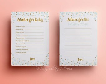 Confetti wishes for the baby card baby shower printable game instant download blue and gold advice for mommy shower party printable decor