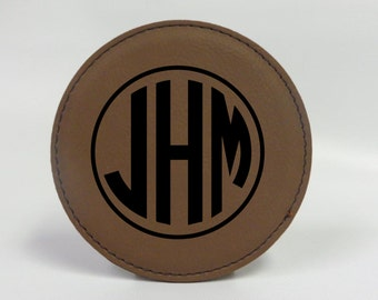Personalized Round Leather Coasters Laser Engraved, Wedding gift, Monogramed Personalized gift, Engraved Initials