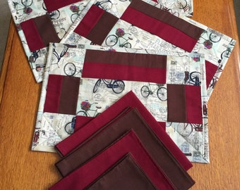 Bicycle placemats and cloth napkin set of 4