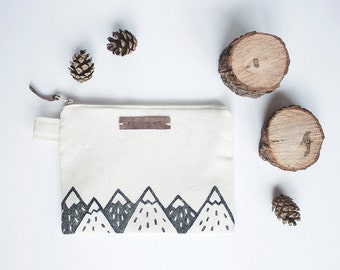 Mountain Zipper Jewelry Pouch, Pencil Case, Purse, Cosmetic bag with handmade print