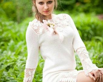 Crochet Irish lace cream women's dress , knitted dress, crochet dress, Irish lace, belle robe Feminine crochet dress Unique Dress