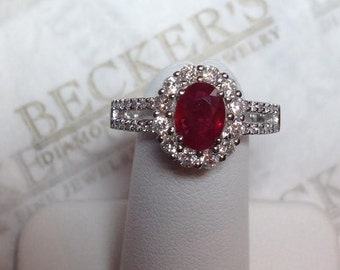 Vintage Fine 18k white gold Oval Ruby & 41 Diamond Ring 1.68 tw HI-SI1,2, Bead and Micro Pavé set in Halo and Split Shank, size 6.75