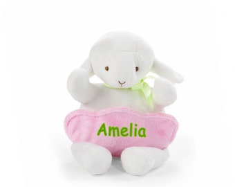 Personalized Plush Easter Lamb with Pocket - 10 Inch