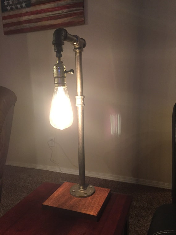 industrial black iron pipe lamp by ryanandsamsdesigns on etsy. Black Bedroom Furniture Sets. Home Design Ideas