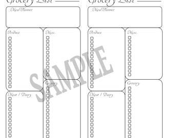 Grocery List Planner, Traveler's Notebook, Midori-, Standard/Regular  digital download Printable