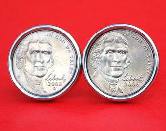 US 2006 ~ 2016 Jefferson Nickel BU Uncirculated Coin Silver Plated Cufflinks NEW