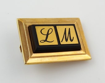 Vintage Hickok Tie Clip Bar Letter LM Initials Personalized Monogram 1.25""
