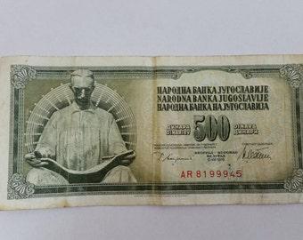 Yugoslavija 500 Dinara banknote 1978
