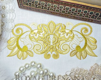 Machine Embroidery Design Rich gold border- 3 sizes