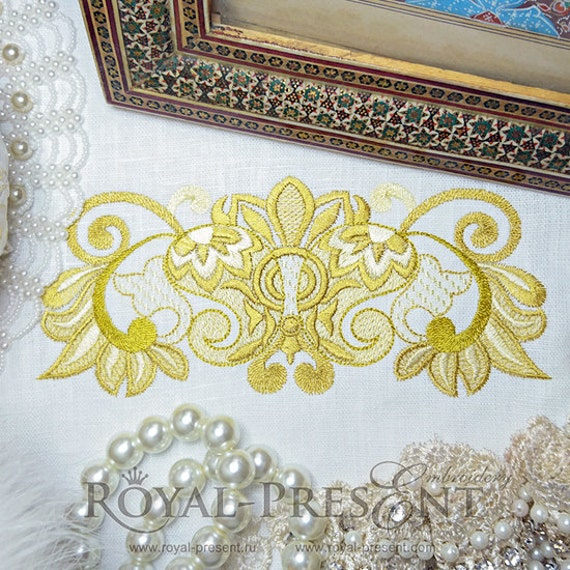 Machine embroidery design rich gold border sizes