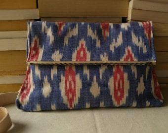 Canvas Foldover Purse// Woven Tribal Purse