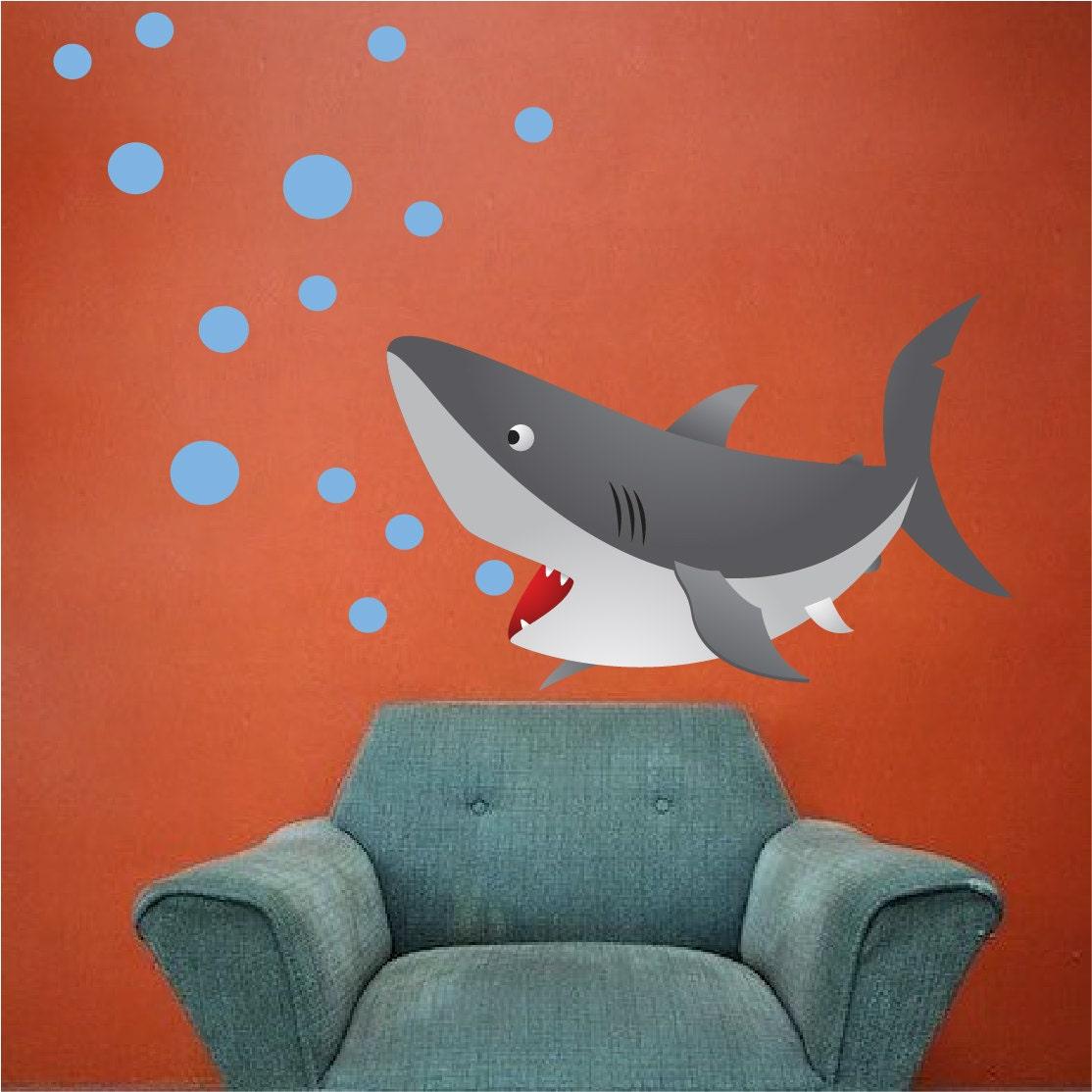 kids shark bedroom or bathroom vinyl wall mural decal peel. Black Bedroom Furniture Sets. Home Design Ideas