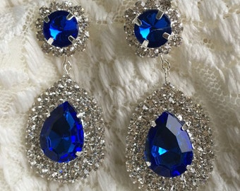 Gorgeous Sapphire Blue and Clear Rhinestone Statement Dangle Earrings...Something Blue...Wedding / Evening / Bride / Bridal / Prom