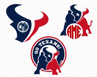 Go Texans Monogram Frames (SVG, EPS, DXF, Studio3) Football Cut Files for use with Silhouette Studio, Cricut Design Space, Cutting Machines
