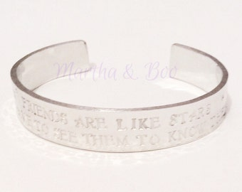 Customised cuff bracelet, personalised bangle, hand stamped jewelry, friend gift, custom jewellery, gift for her, christmas gift, friendship