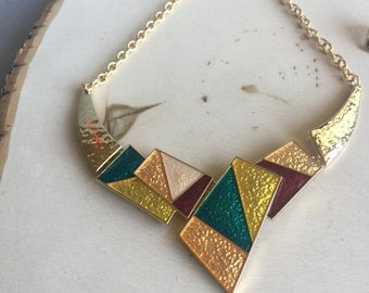 Statement Bib Necklace, Geometric Necklace
