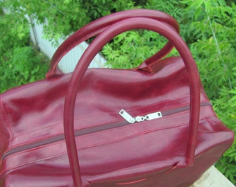 Leather tote bag  large bag Travel duffel bag burgundy red color Daily bag Genuine leather Weekend bag Handmade Handbag Leather bag