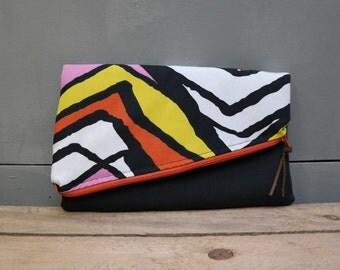 Clutch / foldover bag van katoen met rits