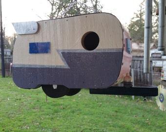 Pink and Purple Shasta Trailer Birdhouse Caravan Birdhouse with Silver Z & Wings