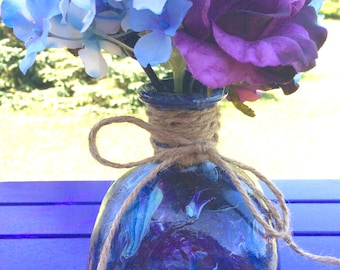 Hand-Painted Unicorn Spit Gel Stain on a Upcycled Patron Bottle with Floral Arrangement, Repurposed Patron Liquor Bottle with Silk Flowers