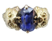 Antique Art Nouveau Ring 18k Gold Sapphire Figural Leopard Head French (#5873)
