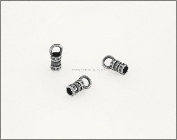 10 pc.+  2.5mm Crimp End Cap, Crimp Ends, Cord Ends for Leather Cords & Chains - Antique Silver