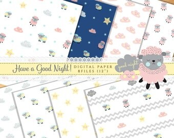 "Digital Paper : ""Have a good night"" Cute Stars, Cloud Pattern Background"