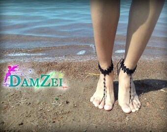 Floral Barefoot Sandal, Black Barefoot Sandal, Barefoot Sandal, Lace Barefoot Sandal, Barefoot Anklet, Foot Jewelry