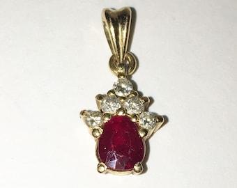 July Birthstone - Ruby, 18k Yellow Gold and Diamond Pendant